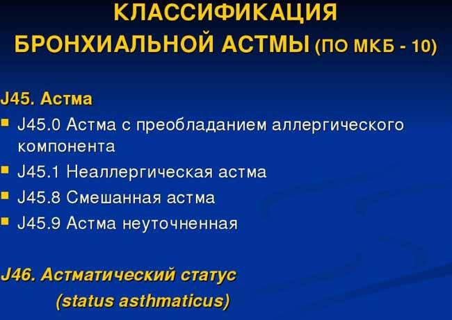Код бронхиальной астмы